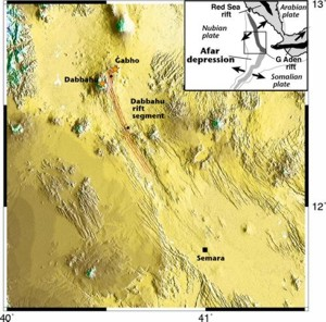 Topographic relief of 60km long Dabbahu rift segment